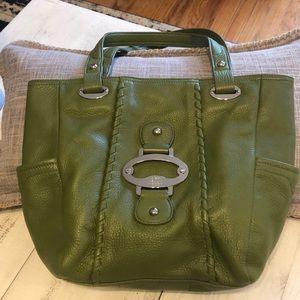 ANNE KLEIN Imitation leather olive green handbag.